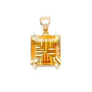 Pingente de Ouro - Citrino - Quadrada - Gemas - exuberante