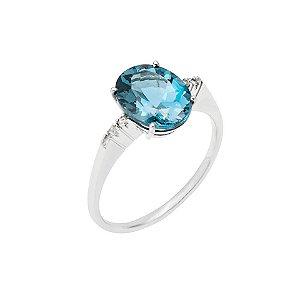 Anel de Ouro 18k  - Topázio Azul - Pedra Preciosa - Luxo