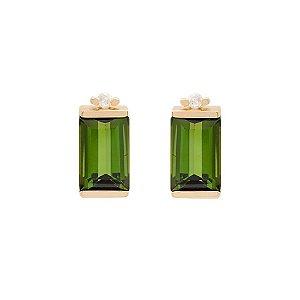 Brinco de Ouro 18k - Turmalina - Pedras Preciosas - Admirável