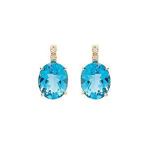 Brinco - Topazio Azul - Ouro 18k