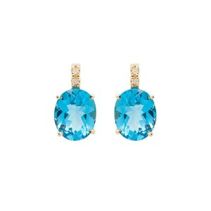 Brinco de Ouro 18k - Topázio Azul - Pedras Preciosas - Luxo