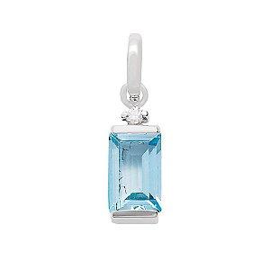 Pingente de Ouro - Topázio Azul - Pedras Preciosas - Admirável