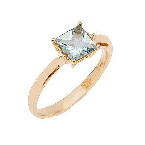 Anel de Ouro - Água Marinha - Pedra Preciosa  - Carre - Desejável