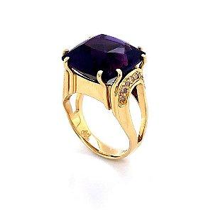 Anel de Ouro18k - Ametista -  Pedra Preciosa - Essencial