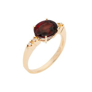 Anel de Ouro 18k - Granada - Pedras Preciosas - Oval - Luxo