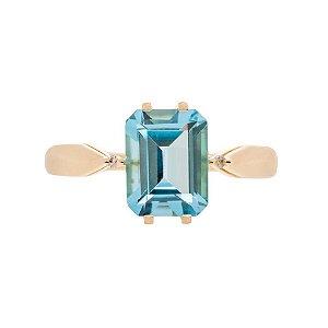 Anel De Ouro 18k - Topázio Azul - Pedra Preciosa - Glamurosa
