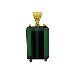 Pingente de Ouro - Turmalina Verde - Retangular - Gemas - Encanto