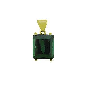 Pingente de Ouro - Turmalina Verde - Retangular - Encanto
