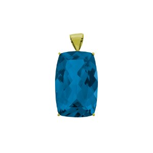 Pingente de Ouro - 18k - Topázio Azul - Antique - Encanto