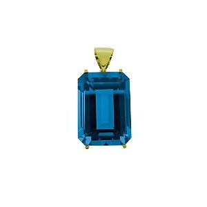 Pingente de Ouro - Topázio Azul - Retangular - Encanto