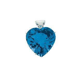 Pingente de Ouro 18k - Topázio Azul - Coração - Encanto