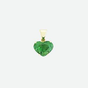 Pingente de Ouro - Turmalina Verde - Pedra Preciosa - Encanto