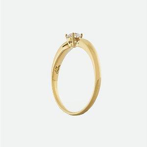 Anel de Ouro - Zirconia - Pedra Preciosa - Redondo