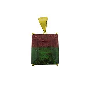 Pingente de Ouro - Turmalina Bicolor - Pedra Preciosa - Encanto