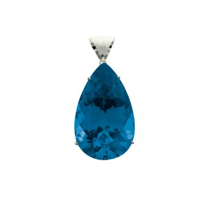 Pingente de Ouro 18k - Topázio Azul - Gota - Gemas - Encanto