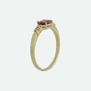 Anel - Rubelita - Ouro 18k