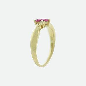 Anel Ouro 18k - Rubelita - Pedra Preciosa - Super Meiga
