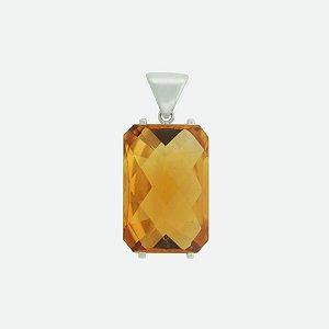 Pingente de Ouro - Citrino - Retangular - Gemas - Exuberante