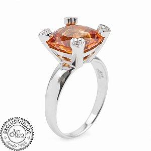 Anel de Ouro 18k - Citrino - Pedra Preciosa - Adorável