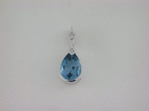 Pingente de Ouro - Topázio Azul - Pedra Preciosa - Especial
