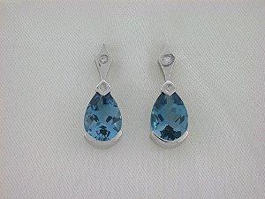 Brinco de Ouro - Topázio Azul - Pedra Preciosa - Especial