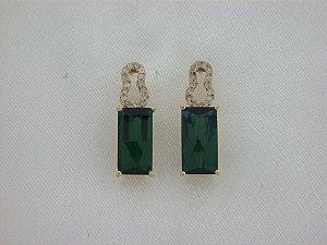 Brinco de Ouro 18k  - Turmalina - Pedra Preciosa - Especial