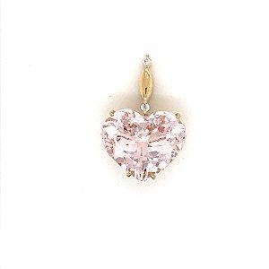 Pingente  de Ouro 18k - Morganita - Pedra Preciosa - Coração