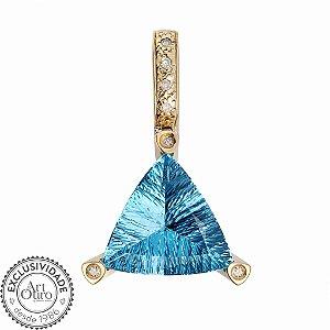 Pingente De Ouro - Topázio Azul - Pedra Preciosa - Esplêndido