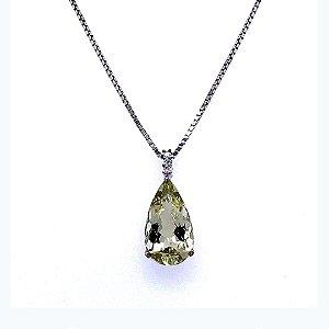 Pingente de Ouro 18k - Berilo - Deslumbrante - Diamante