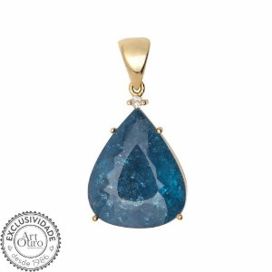 Pingente de Ouro - Turmalina Paraiba - Pedra Preciosa - Encanto