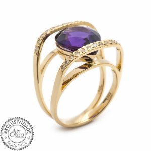 Anel de Ouro - Ametista - Pedra Preciosa - Diamante - Desejável