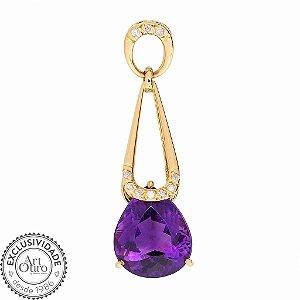 Pingente de Ouro - Ametista - Pedra Preciosa - Desejavel