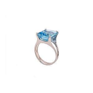 Anel de Ouro - Topázio Azul - Pedra Preciosa - Magnífico
