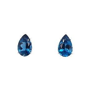Brinco de Ouro - Topázio Azul - Pedras Preciosas - Luxo