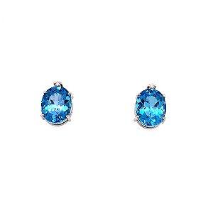 Brinco de ouro - Topázio Azul - Gemas - Clássicos