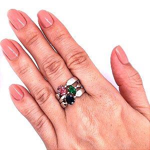 Anel - Indicolita  - Esmeralda - Turmalina Rosa - Ouro 18k