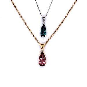 Pingente de Ouro - Indicolita - Turmalina Rosa - Deslumbrante