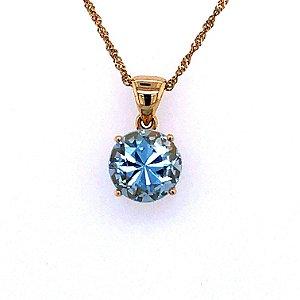 Pingente de Ouro - Água Marinha - Pedra Preciosa - Romantica