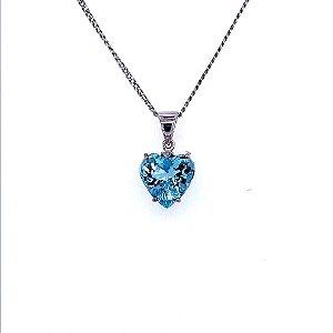 Pingente de Ouro - Pedra Preciosa - Água Marinha - Coração