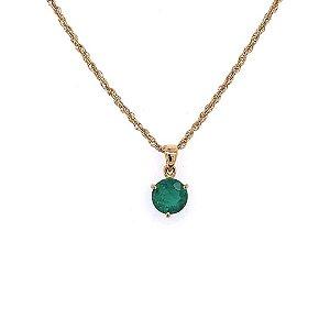Pingente de Ouro - Esmeralda - Pedra Preciosa - Oval - Delicada