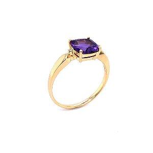 Anel de Ouro - Ametista - Pedra Preciosa - Desejável