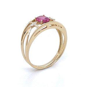 Anel  - Rubelita - Pedra Preciosa - Glamourosa