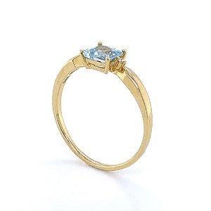 Anel de Ouro 18k - Água Marinha - Pedra Preciosa - Encanto