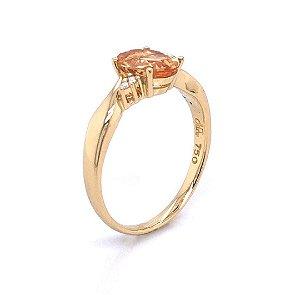 Anel de Ouro 18k - Topázio Imperial - Pedra Preciosa