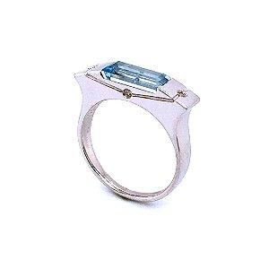 Anel - Água Marinha - Pedra Preciosa - Retangular