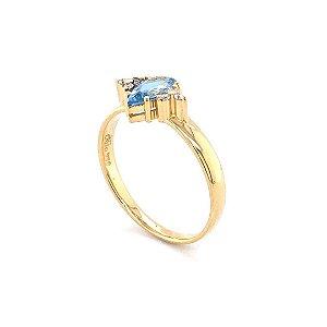 Anel de Ouro - Água Marinha - Pedra Preciosa