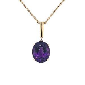 Pingente de Ouro 18k - Ametista - Pedra Preciosa - Desejável