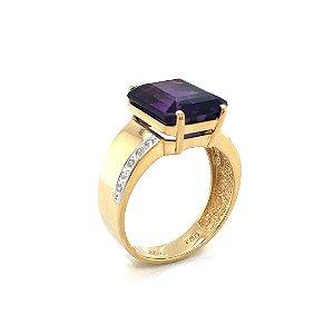 Anel de Ouro18k - Ametista -  Pedra Preciosa