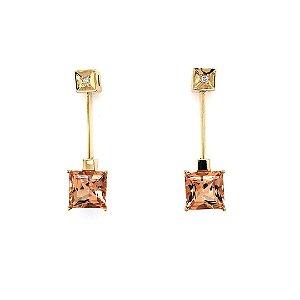 Brinco de Ouro 18k - Topázio Imperial - Pedra Preciosa - Desejável