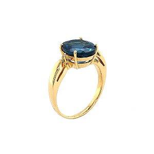 Anel de Ouro 18k - Topázio Azul - Pedra Preciosa - Desejável